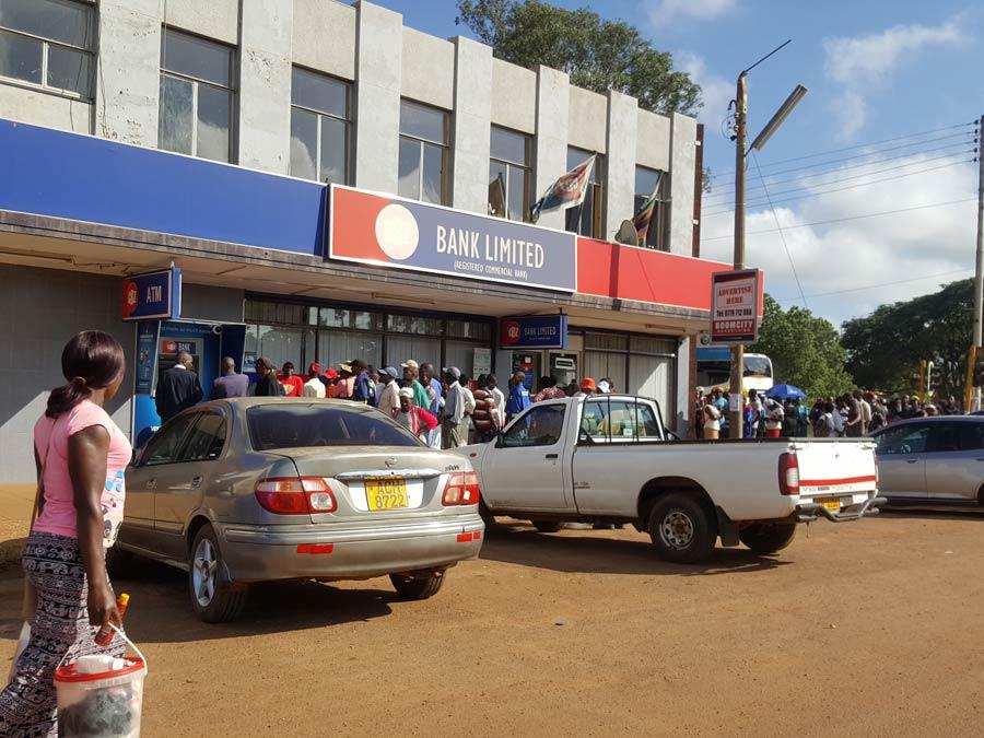 Queue in front of bank