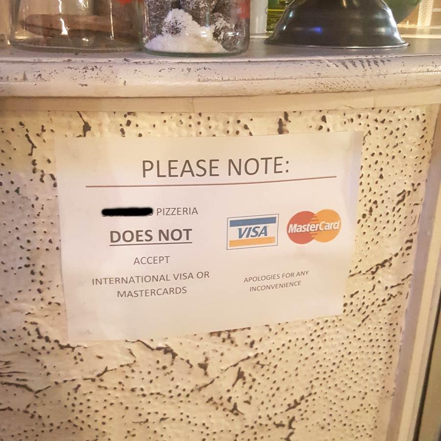No Credit cards